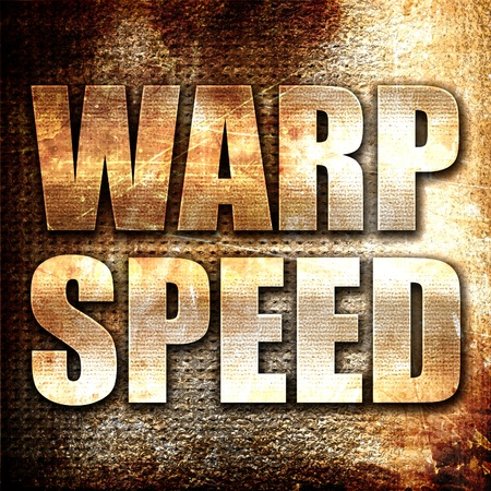 warp speed: warp speed, 3D rendering, metal text on rust background
