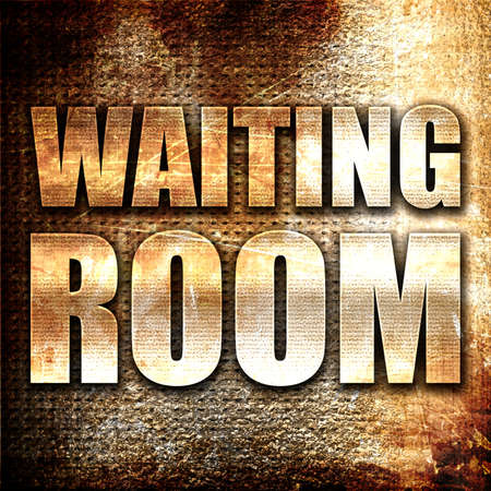 text room: waiting room, 3D rendering, metal text on rust background