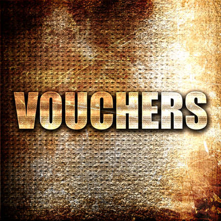 financial reward: vouchers, 3D rendering, metal text on rust background