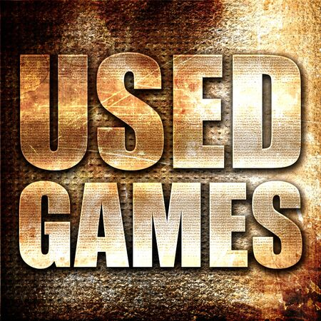 users video: used games, 3D rendering, metal text on rust background