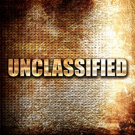 unclassified, 3D rendering, metal text on rust background Stock Photo