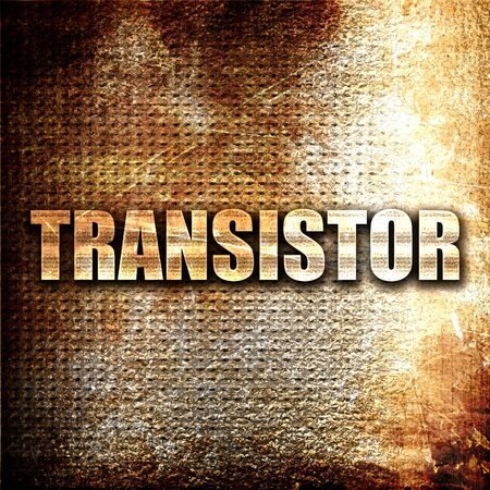 transitor: transistor, 3D rendering, metal text on rust background Foto de archivo