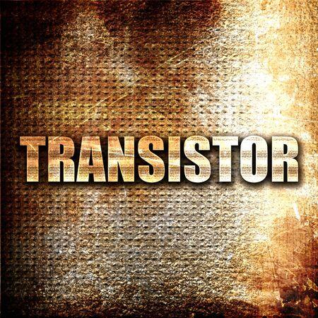 transistor: transistor, 3D, texto del metal en fondo del moho Foto de archivo