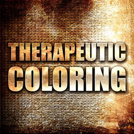 therapeutic: therapeutic coloring, 3D rendering, metal text on rust background
