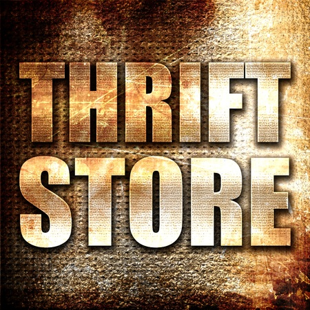 thrift store: thrift store, 3D rendering, metal text on rust background