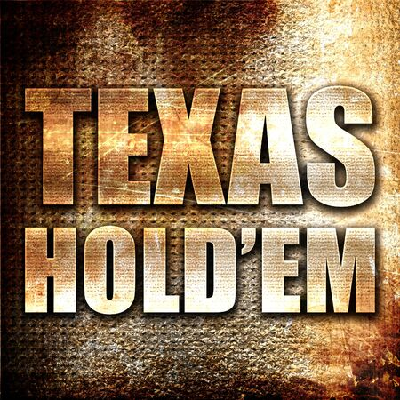 holdem: texas holdem, 3D rendering, metal text on rust background Stock Photo