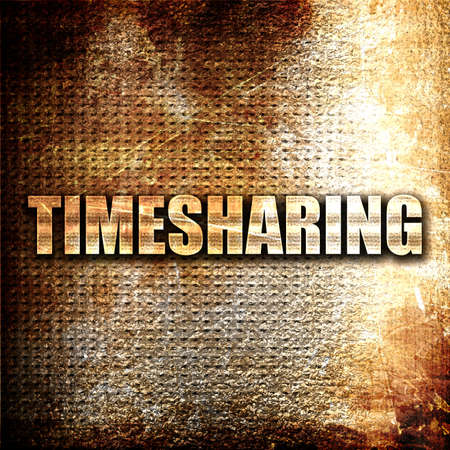 timeshare: timesharing, 3D rendering, metal text on rust background
