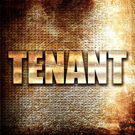 tenant: tenant, 3D rendering, metal text on rust background Stock Photo