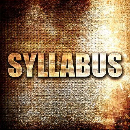 roster: syllabus, 3D rendering, metal text on rust background