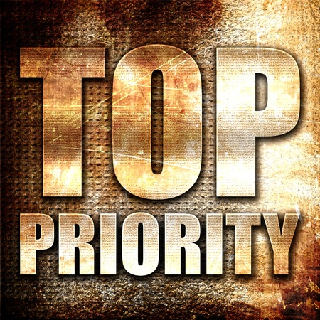 precedence: top priority, 3D rendering, metal text on rust background