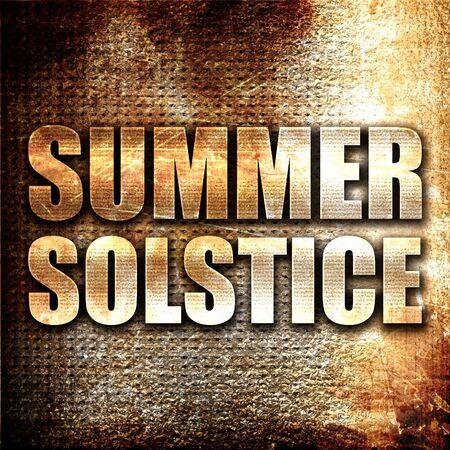 solstice: summer solstice, 3D rendering, metal text on rust background