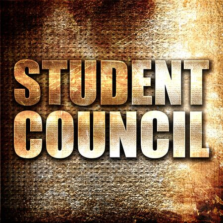 council: student council, 3D rendering, metal text on rust background Stock Photo