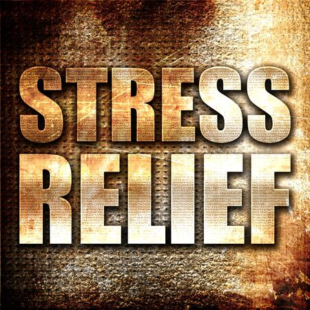 stress relief: stress relief, 3D rendering, metal text on rust background