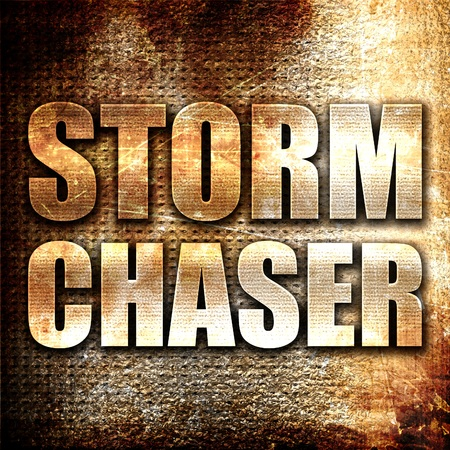 chaser: storm chaser, 3D rendering, metal text on rust background Stock Photo