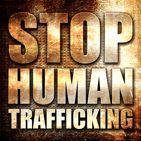 stop human trafficking, 3D rendering, metal text on rust background