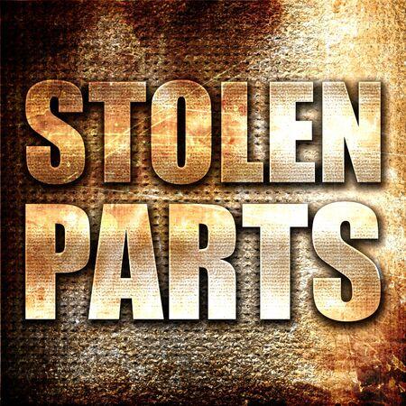 stolen: stolen parts, 3D rendering, metal text on rust background