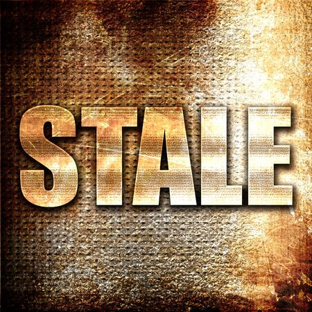 stale: stale, 3D rendering, metal text on rust background