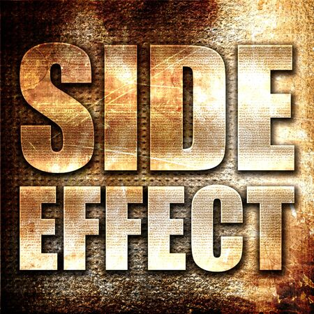 side effect: side effect, 3D rendering, metal text on rust background