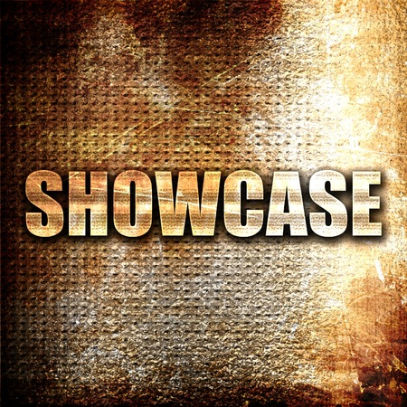 showcase: showcase, 3D rendering, metal text on rust background
