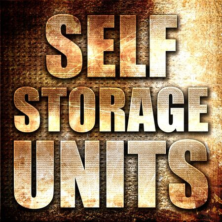 storage units: self storage units, 3D rendering, metal text on rust background