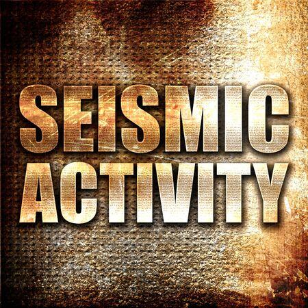 sismogr�fo: la actividad s�smica, 3D, texto del metal en fondo del moho Foto de archivo