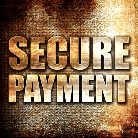 secure payment: secure payment, 3D rendering, metal text on rust background Stock Photo