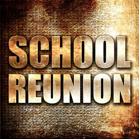 formative: school reunion, 3D rendering, metal text on rust background Stock Photo