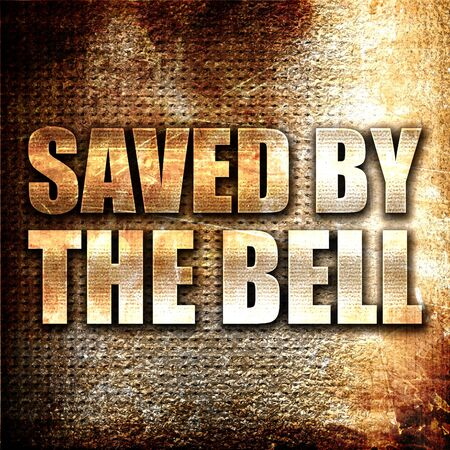 saved: saved by the bell, 3D rendering, metal text on rust background