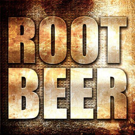 root beer: root beer, 3D rendering, metal text on rust background Stock Photo