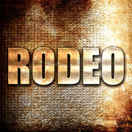 bucking bronco: rodeo, 3D rendering, metal text on rust background Stock Photo