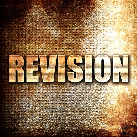 revision: revision, 3D rendering, metal text on rust background