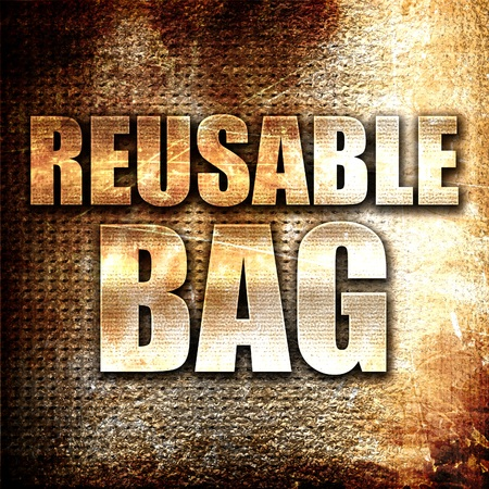 reusable: reusable bag, 3D rendering, metal text on rust background
