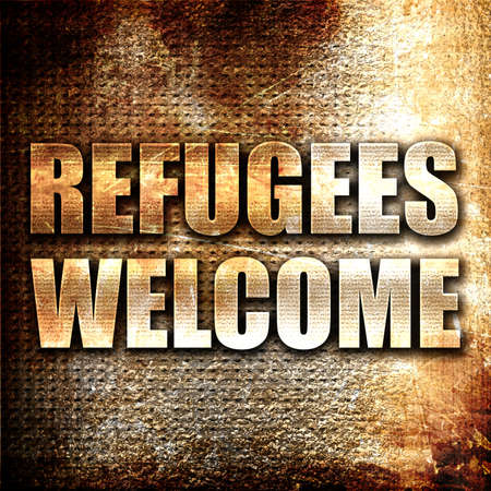 international crisis: refugees welcome, 3D rendering, metal text on rust background Stock Photo