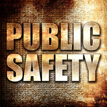 public safety: public safety, 3D rendering, metal text on rust background
