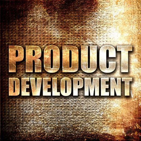 commercialization: product development, 3D rendering, metal text on rust background