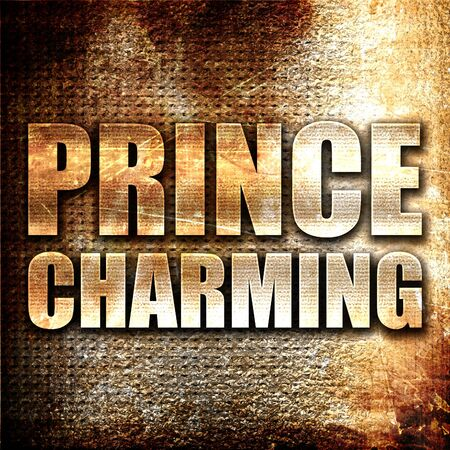 prince charming: prince charming, 3D rendering, metal text on rust background
