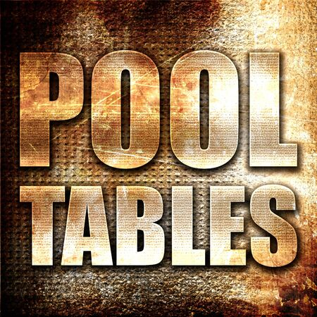pool tables: pool tables, 3D rendering, metal text on rust background