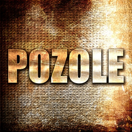 mote: pozole, 3D rendering, metal text on rust background Stock Photo