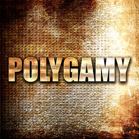 polygamy: polygamy, 3D rendering, metal text on rust background Stock Photo