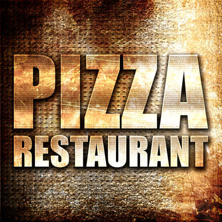 word: pizza restaurant, 3D rendering, metal text on rust background
