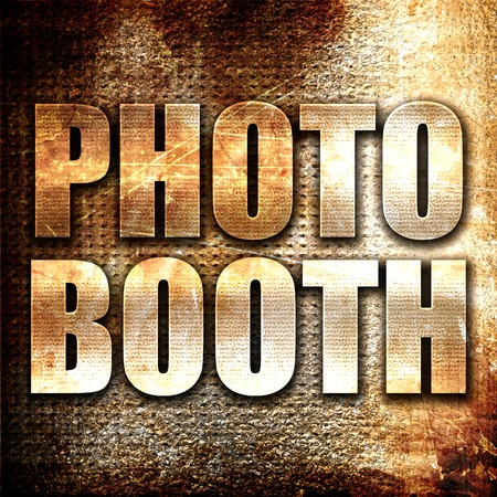 photo booth, 3D rendering, metal text on rust background
