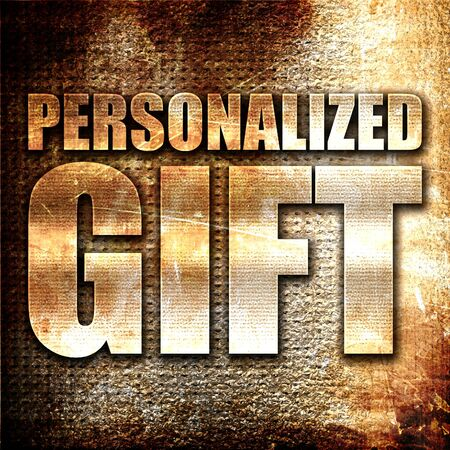 personalized: personalized gift, 3D rendering, metal text on rust background Stock Photo