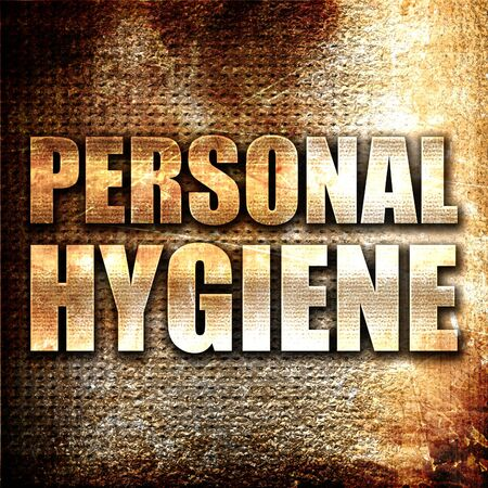 personal hygiene: personal hygiene, 3D rendering, metal text on rust background
