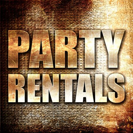 rentals: party rentals, 3D rendering, metal text on rust background Stock Photo