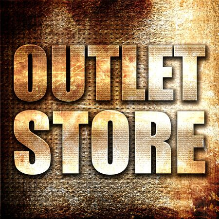outlet store: outlet store, 3D rendering, metal text on rust background