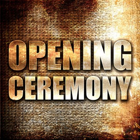 sho: opening ceremony, 3D rendering, metal text on rust background