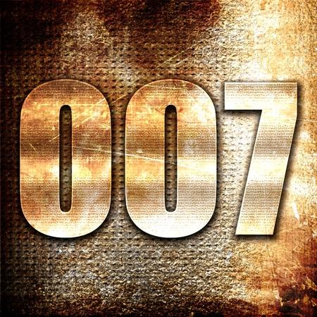 007, 3D rendering, metal text on rust background Reklamní fotografie