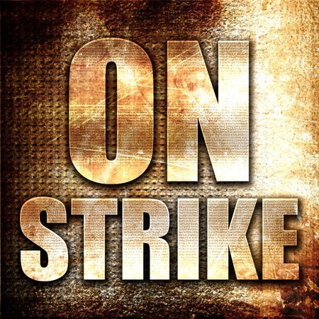 clash: on strike, 3D rendering, metal text on rust background Stock Photo