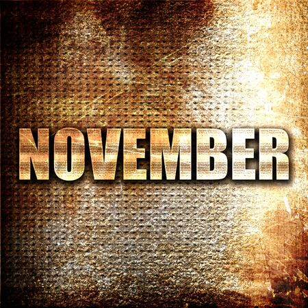 november, 3D rendering, metal text on rust background