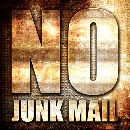 junk mail: no junk mail, 3D rendering, metal text on rust background Stock Photo